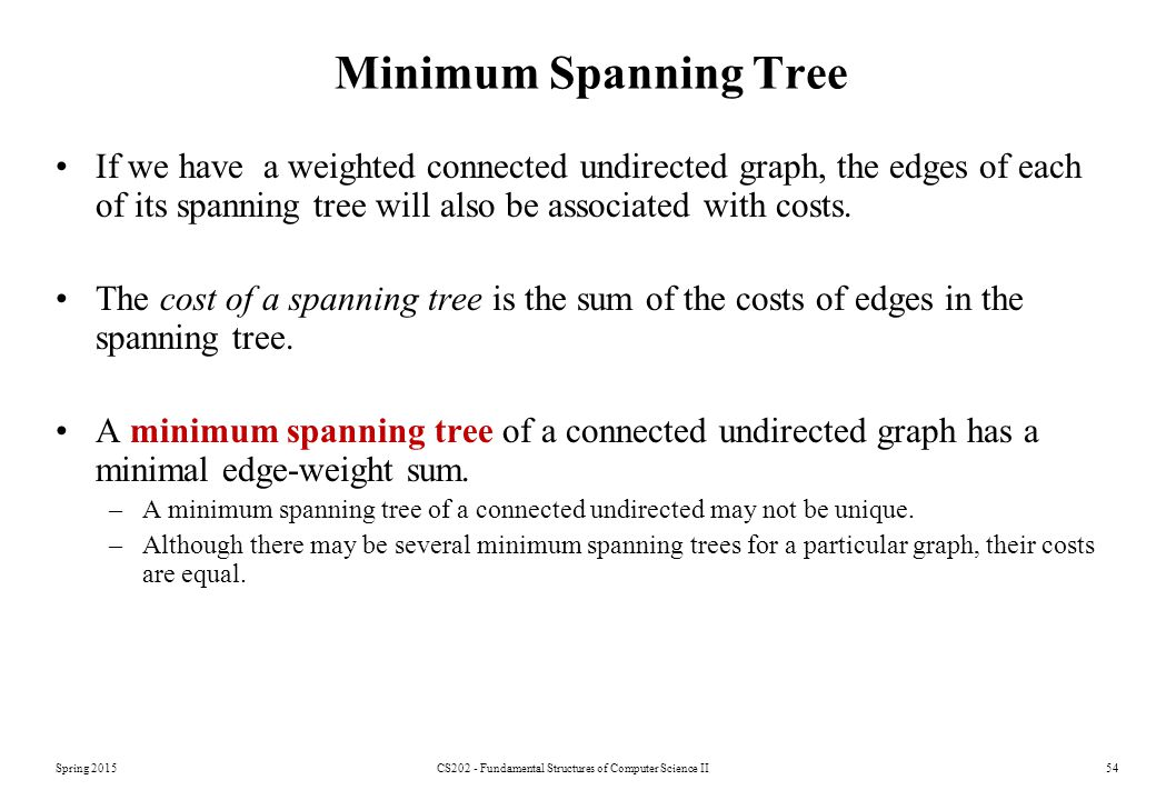 Spring 2015CS202 - Fundamental Structures of Computer Science II54 Minimum Spanning Tree If we have a weighted connected undirected graph, the edges of each of its spanning tree will also be associated with costs.