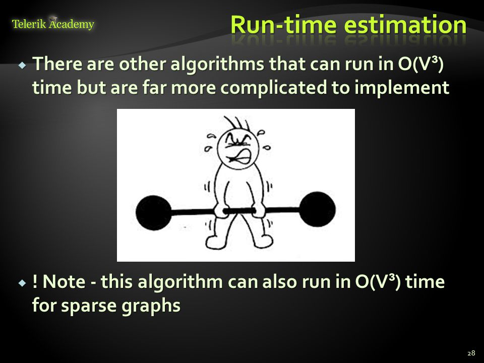  There are other algorithms that can run in O(V ³ ) time but are far more complicated to implement  .
