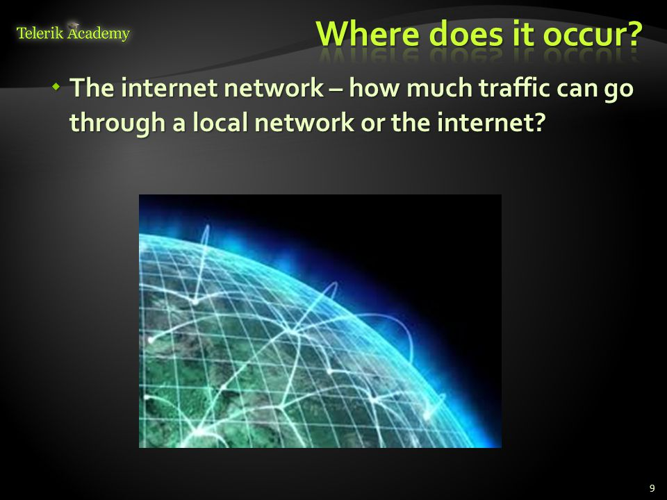  The internet network – how much traffic can go through a local network or the internet 9