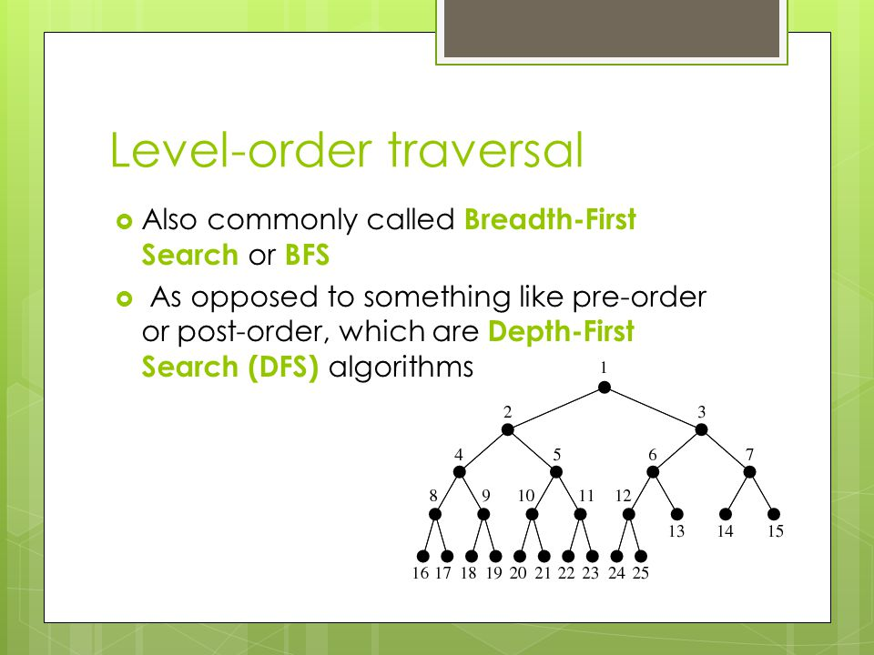 Level-order traversal  Also commonly called Breadth-First Search or BFS  As opposed to something like pre-order or post-order, which are Depth-First Search (DFS) algorithms