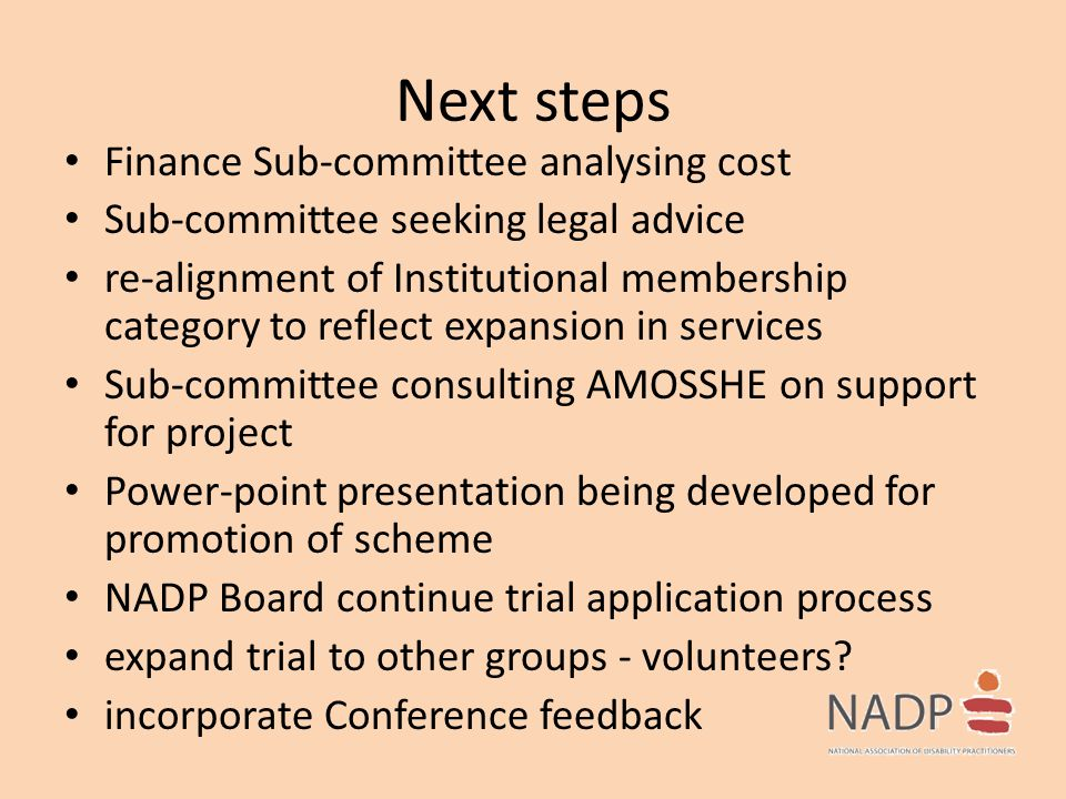 Next steps Finance Sub-committee analysing cost Sub-committee seeking legal advice re-alignment of Institutional membership category to reflect expans