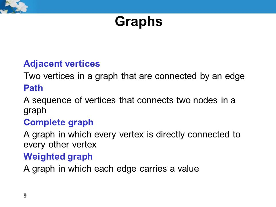 9 Graphs Adjacent vertices Two vertices in a graph that are connected by an edge Path A sequence of vertices that connects two nodes in a graph Comple