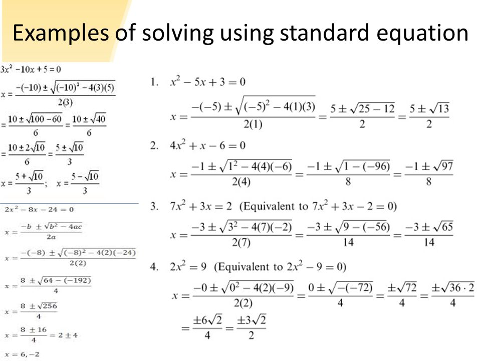 Derivation of the standard equation This is called Sridhara's method