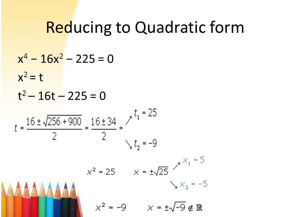 Examples of solving using standard equation