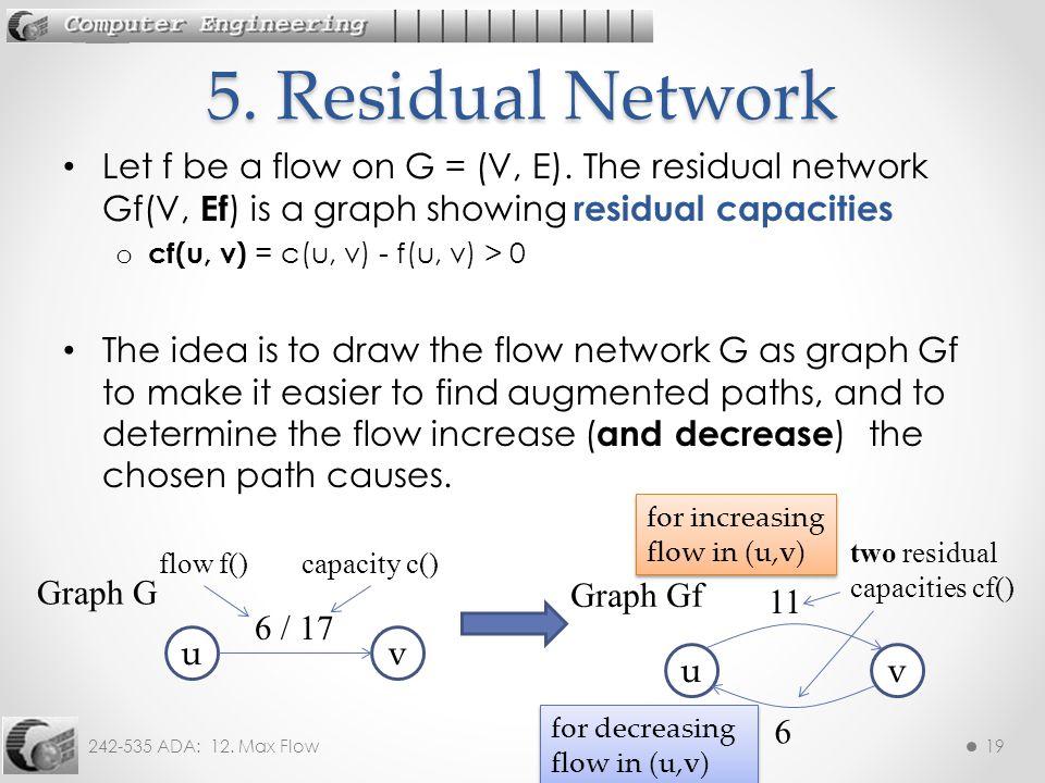 242-535 ADA: 12. Max Flow19 Let f be a flow on G = (V, E). The residual network Gf(V, Ef ) is a graph showing residual capacities o cf(u, v) = c(u, v)