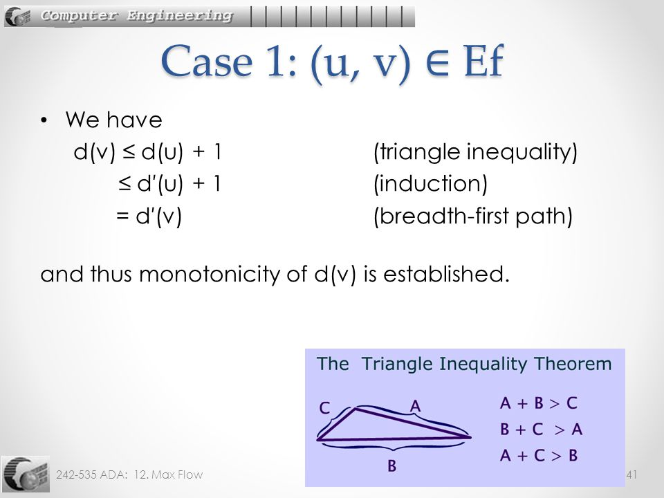 242-535 ADA: 12. Max Flow41 We have d(v) ≤ d(u) + 1 (triangle inequality) ≤ d′(u) + 1 (induction) = d′(v) (breadth-first path) and thus monotonicity o