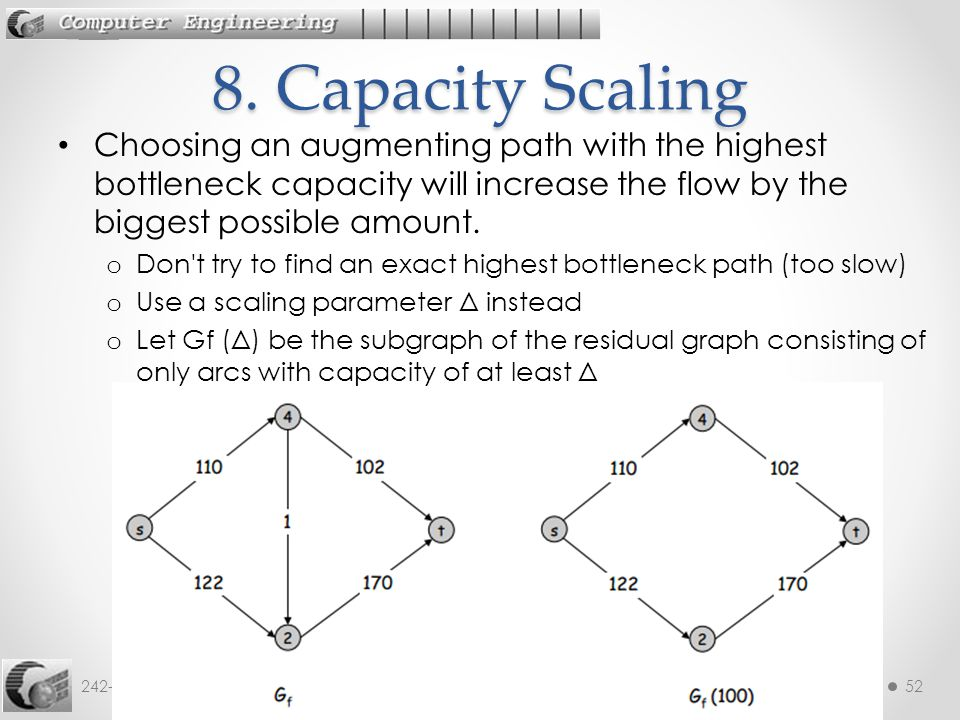 242-535 ADA: 12. Max Flow52 Choosing an augmenting path with the highest bottleneck capacity will increase the flow by the biggest possible amount. o