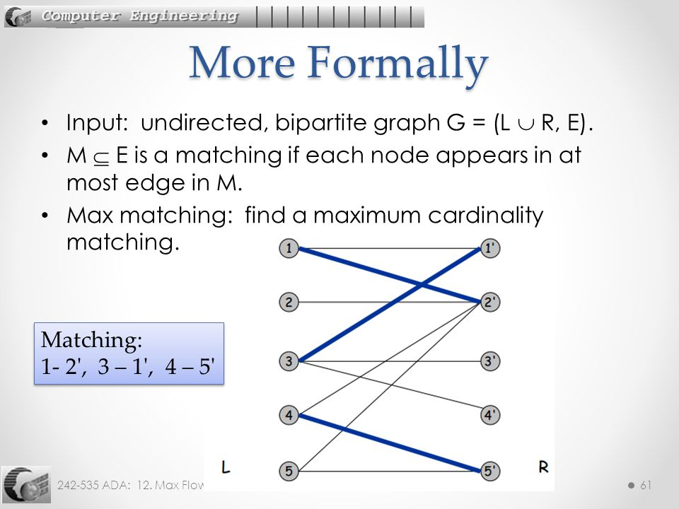 242-535 ADA: 12.Max Flow61 Input: undirected, bipartite graph G = (L  R, E).