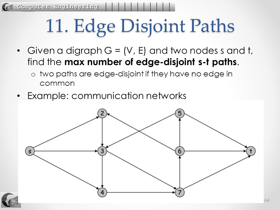 242-535 ADA: 12. Max Flow64 Given a digraph G = (V, E) and two nodes s and t, find the max number of edge-disjoint s-t paths. o two paths are edge-dis