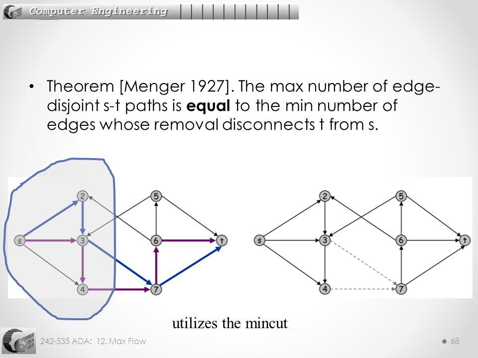242-535 ADA: 12.Max Flow68 Theorem [Menger 1927].