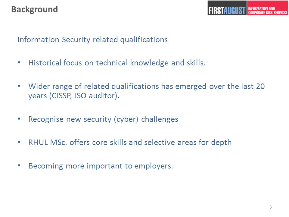 Why did you choose an Info Sec MSc..I've spoken with many former MSc.
