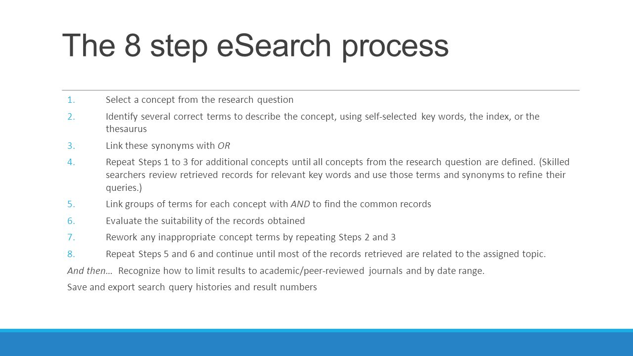The 8 step eSearch process 1.Select a concept from the research question 2.Identify several correct terms to describe the concept, using self-selected key words, the index, or the thesaurus 3.Link these synonyms with OR 4.Repeat Steps 1 to 3 for additional concepts until all concepts from the research question are defined.