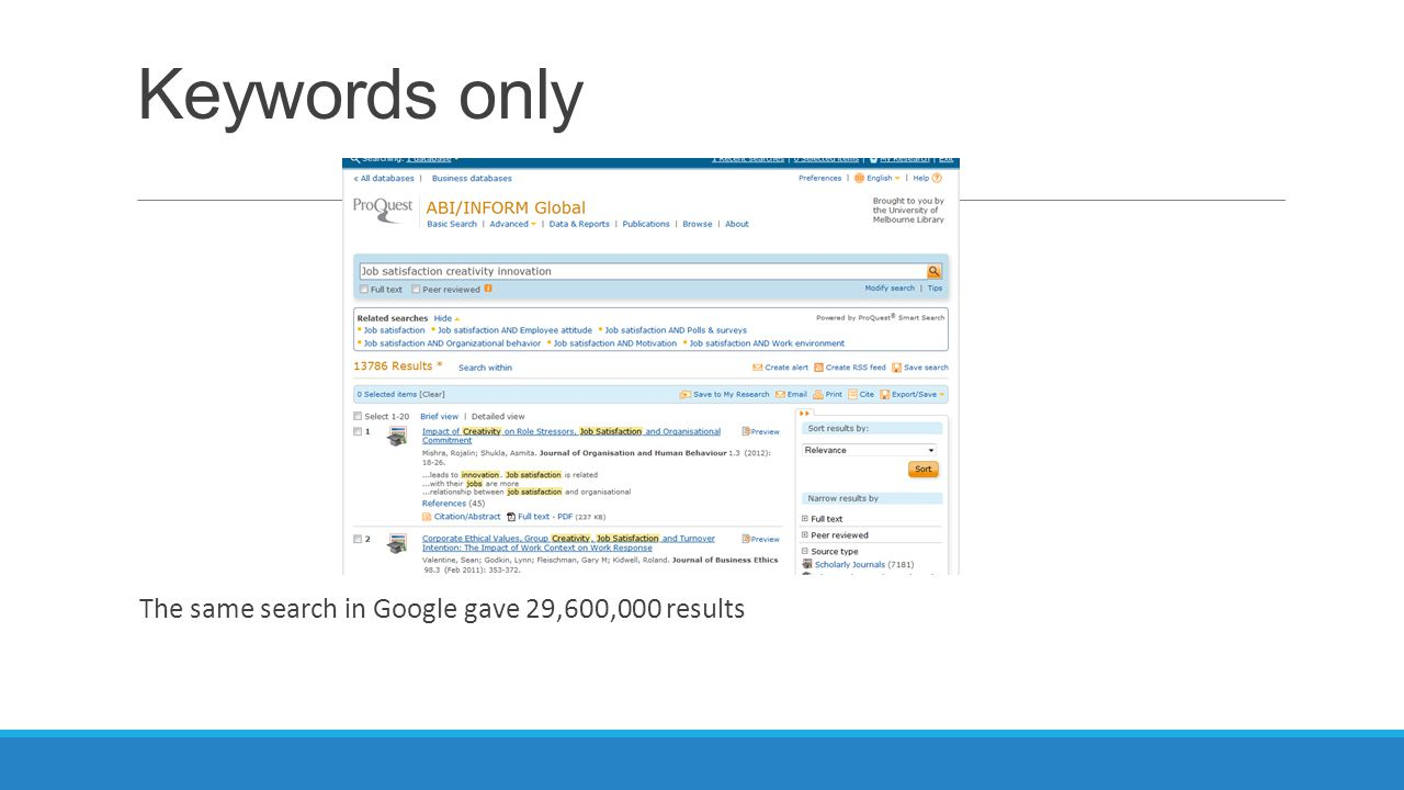 The same search in Google gave 29,600,000 results Keywords only