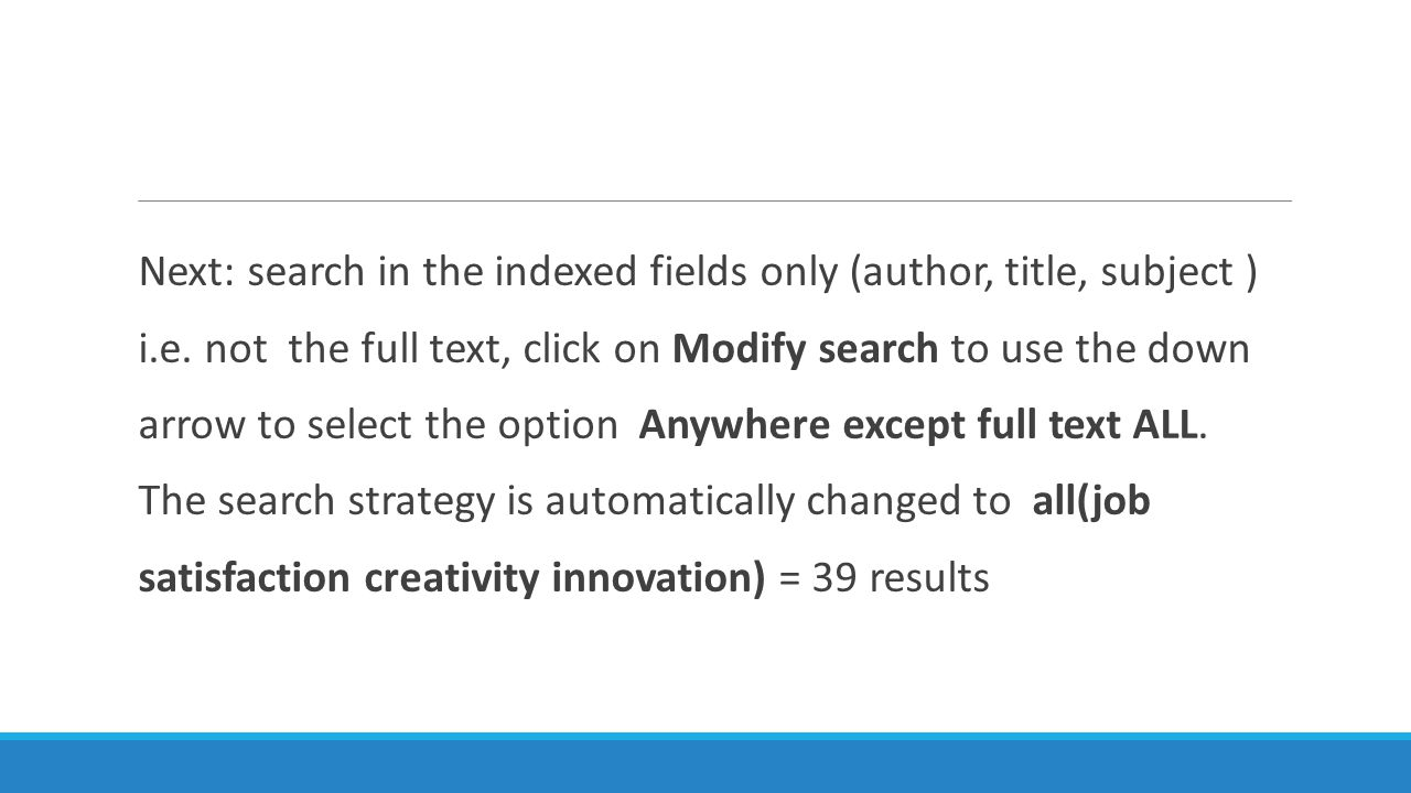 Next: search in the indexed fields only (author, title, subject ) i.e.