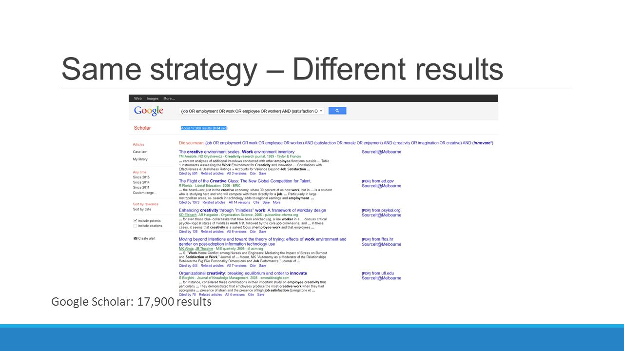 Same strategy – Different results Google Scholar: 17,900 results
