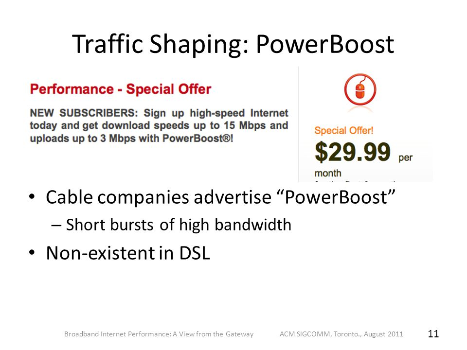 Traffic Shaping: PowerBoost Cable companies advertise PowerBoost – Short bursts of high bandwidth Non-existent in DSL Broadband Internet Performance: A View from the Gateway ACM SIGCOMM, Toronto., August 2011 11