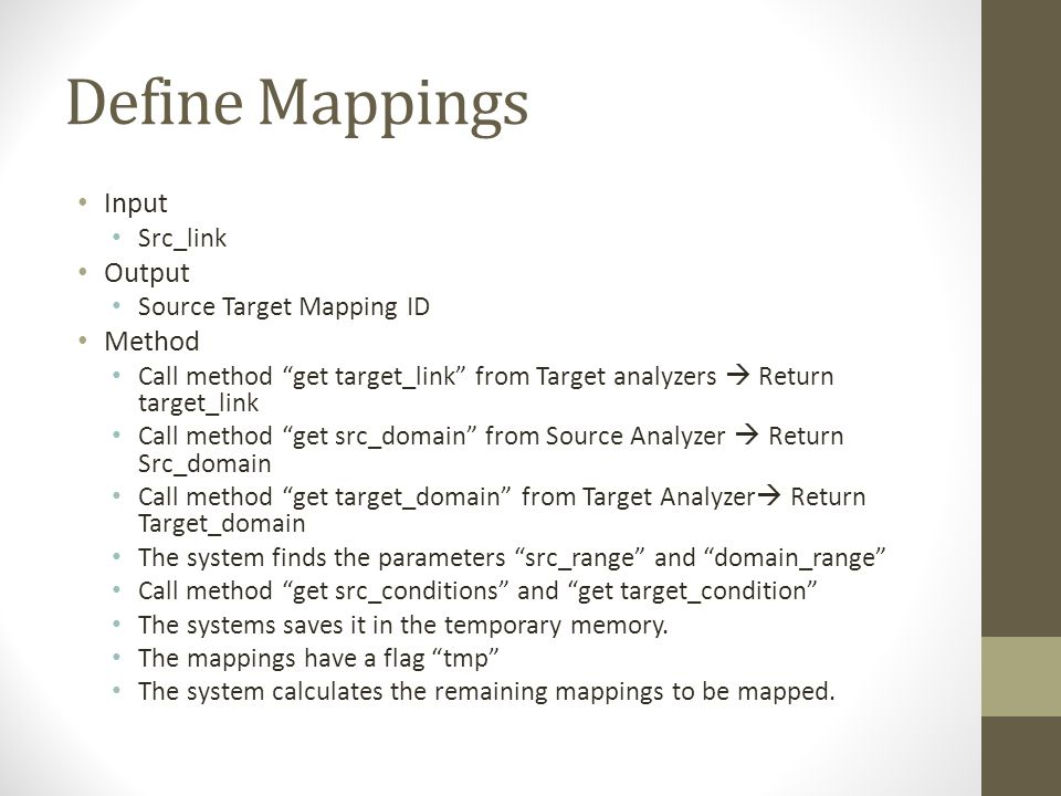 Define Mappings Input Src_link Output Source Target Mapping ID Method Call method get target_link from Target analyzers  Return target_link Call method get src_domain from Source Analyzer  Return Src_domain Call method get target_domain from Target Analyzer  Return Target_domain The system finds the parameters src_range and domain_range Call method get src_conditions and get target_condition The systems saves it in the temporary memory.