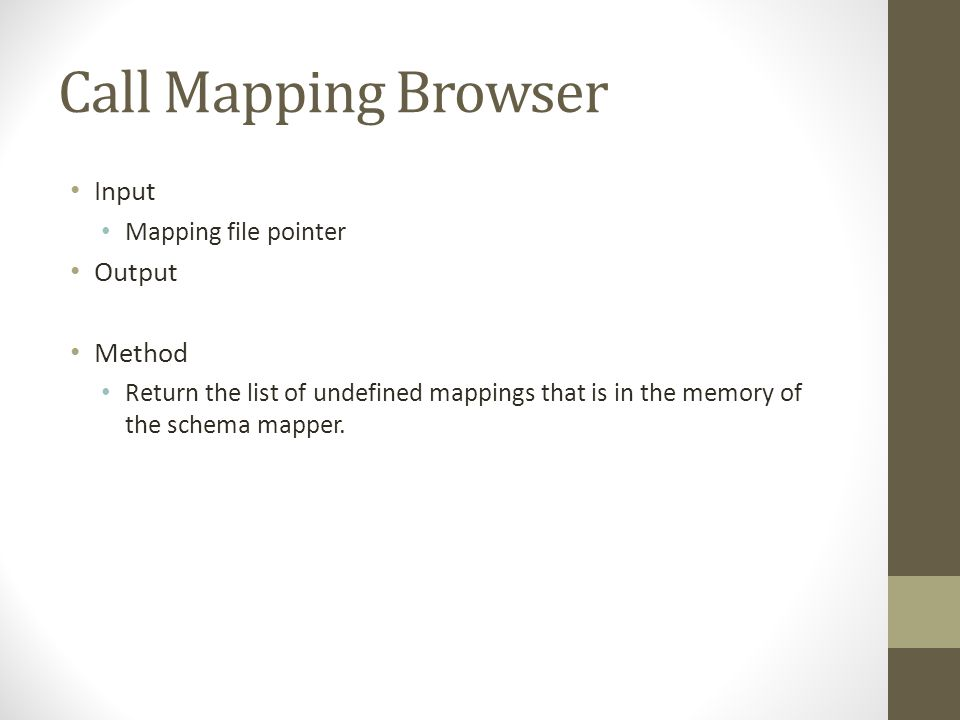 Call Mapping Browser Input Mapping file pointer Output Method Return the list of undefined mappings that is in the memory of the schema mapper.