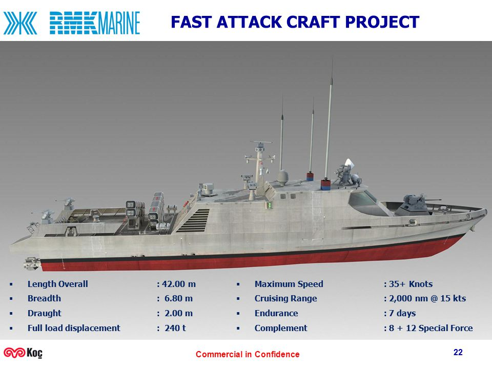 Commercial in Confidence 22 FAST ATTACK CRAFT PROJECT  Length Overall : 42.00 m  Breadth: 6.80 m  Draught: 2.00 m  Full load displacement : 240 t
