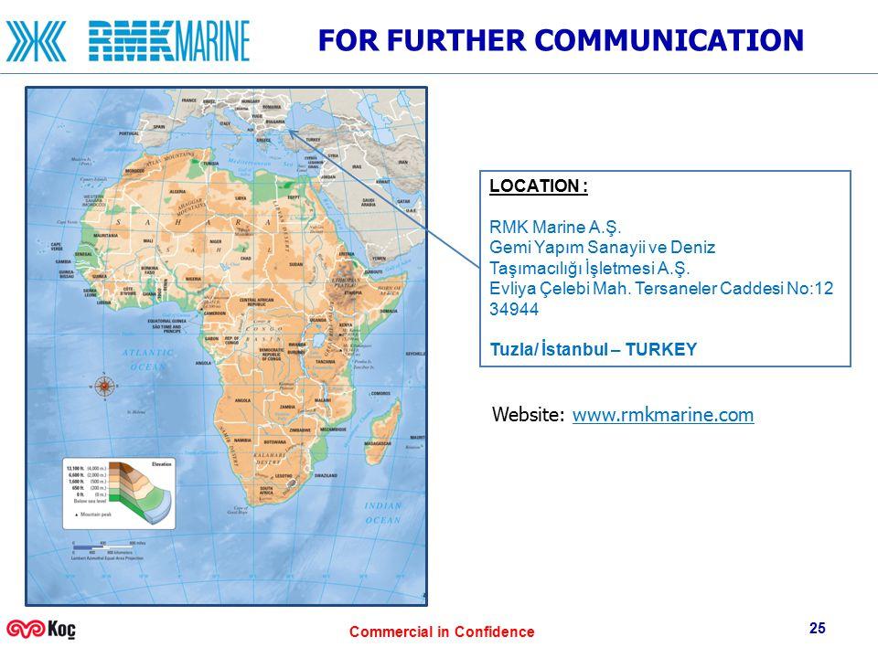 Commercial in Confidence FOR FURTHER COMMUNICATION Website: www.rmkmarine.com 25 LOCATION : RMK Marine A.Ş. Gemi Yapım Sanayii ve Deniz Taşımacılığı İ