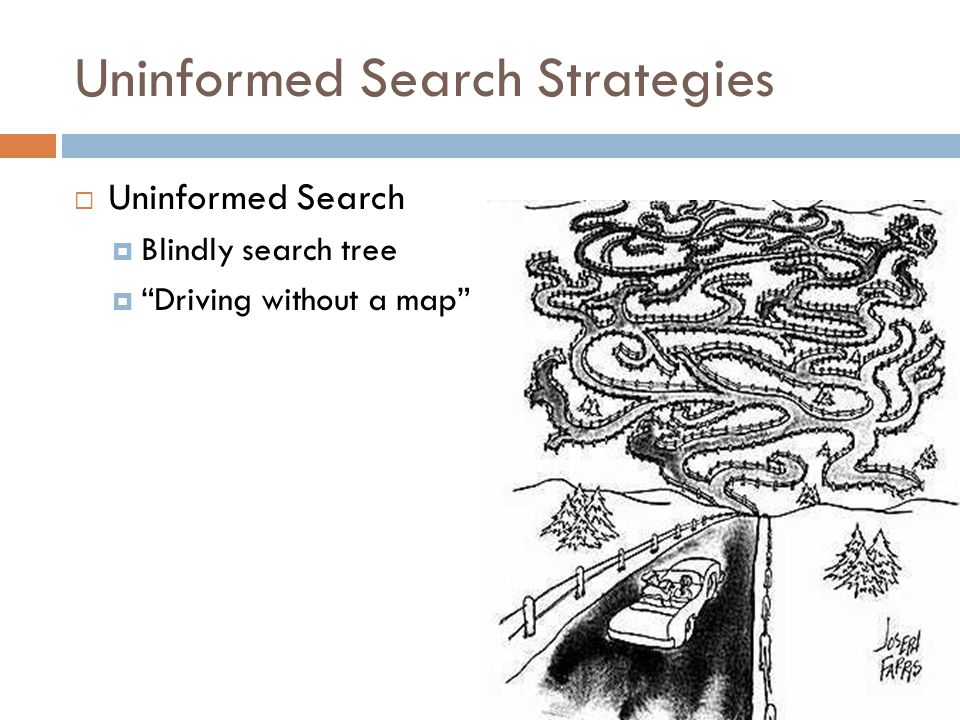Uninformed Search Strategies  Uninformed Search  Blindly search tree  Driving without a map