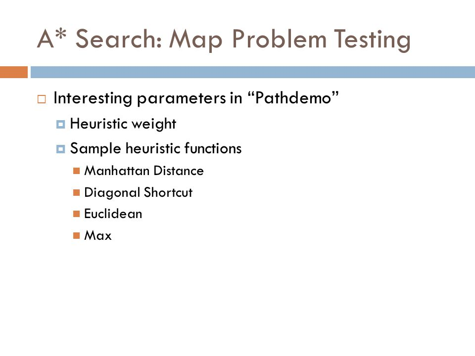 A* Search: Map Problem Testing  Interesting parameters in Pathdemo  Heuristic weight  Sample heuristic functions Manhattan Distance Diagonal Shortcut Euclidean Max