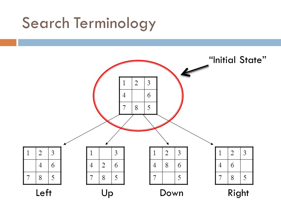 Search Terminology 123 46 785 123 46 785 13 426 785 LeftUp 123 486 75 123 46 785 DownRight Initial State