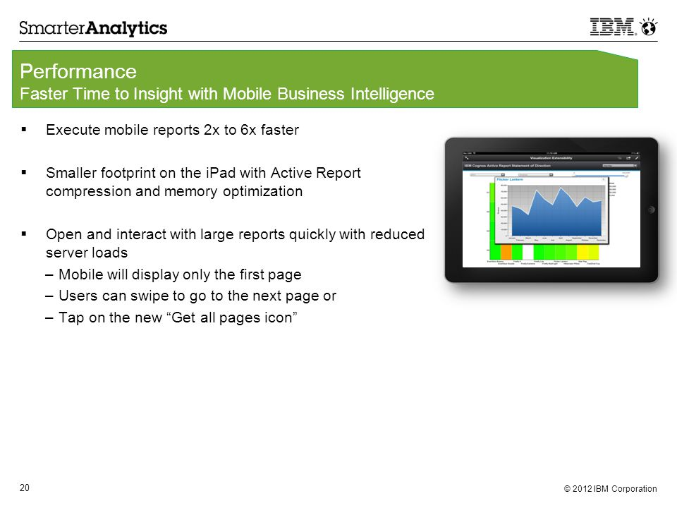 © 2012 IBM Corporation 20 Performance Faster Time to Insight with Mobile Business Intelligence  Execute mobile reports 2x to 6x faster  Smaller footprint on the iPad with Active Report compression and memory optimization  Open and interact with large reports quickly with reduced server loads –Mobile will display only the first page –Users can swipe to go to the next page or –Tap on the new Get all pages icon