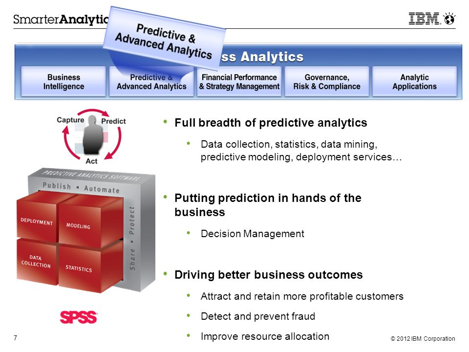 © 2012 IBM Corporation 8  Simplify, structure, and automate dynamic and sustainable FP&SM practices  Monitor and analyze business performance against targets  Plan, forecast and control enterprise resources aligned with corporate objectives  Close the books, consolidate results and report financial performance with confidence.