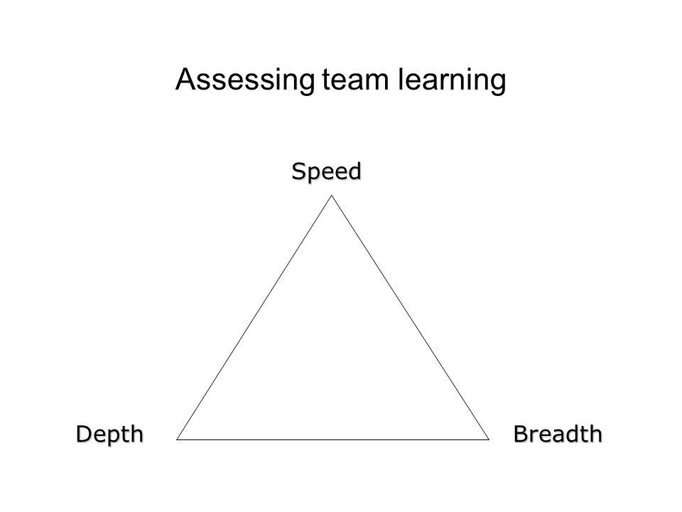 Assessing team learningSpeedDepthBreadth