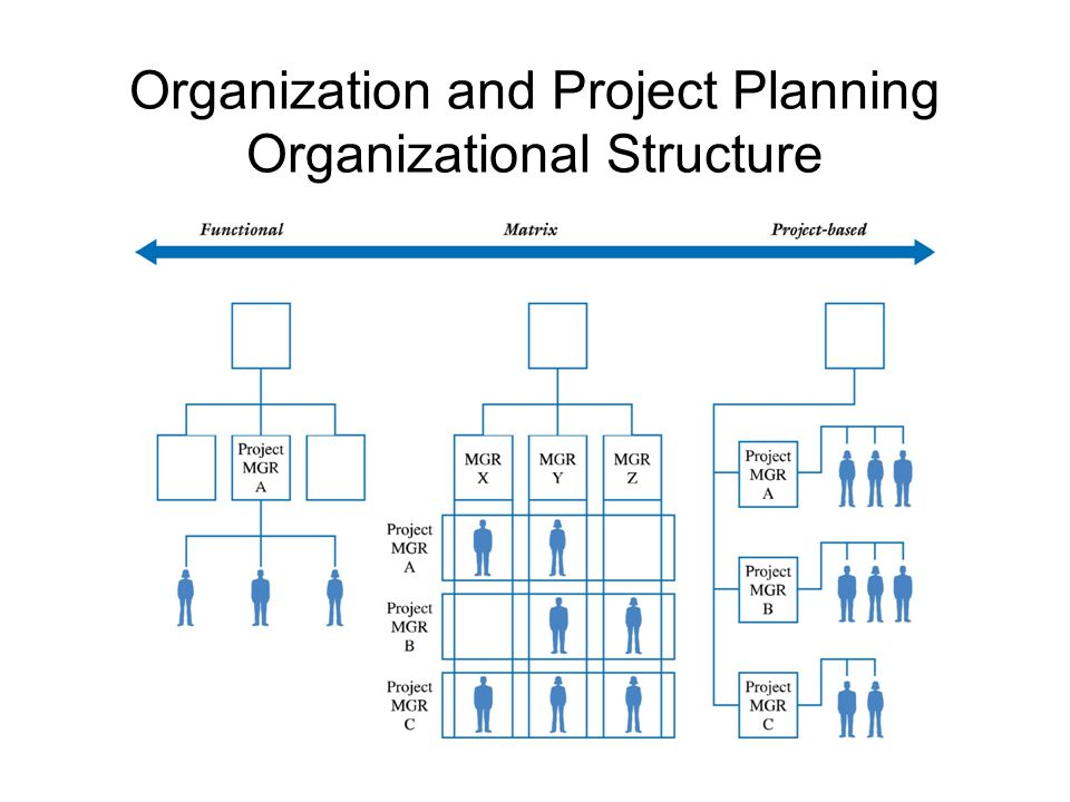 Organization and Project Planning – The Formal Organization Advantages –Increased flexibility –Breadth and depth of knowledge and experience –Less duplication Disadvantages –Determining responsibility –Poor response time –Poor integration The Functional Organization