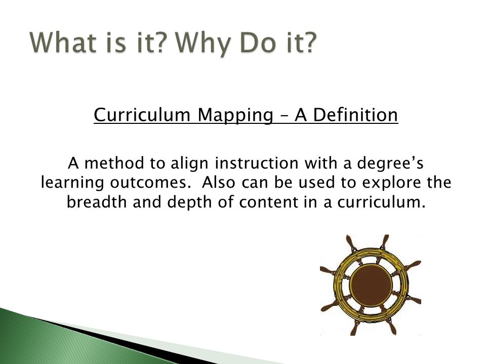 Intent of Curriculum Maps or Matrixes  Documents what is taught and when  Reveals gaps in the curriculum  Helps refine an assessment plan
