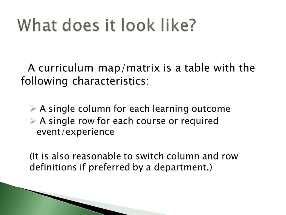 A curriculum map/matrix is a table with the following characteristics:  A single column for each learning outcome  A single row for each course or required event/experience (It is also reasonable to switch column and row definitions if preferred by a department.)