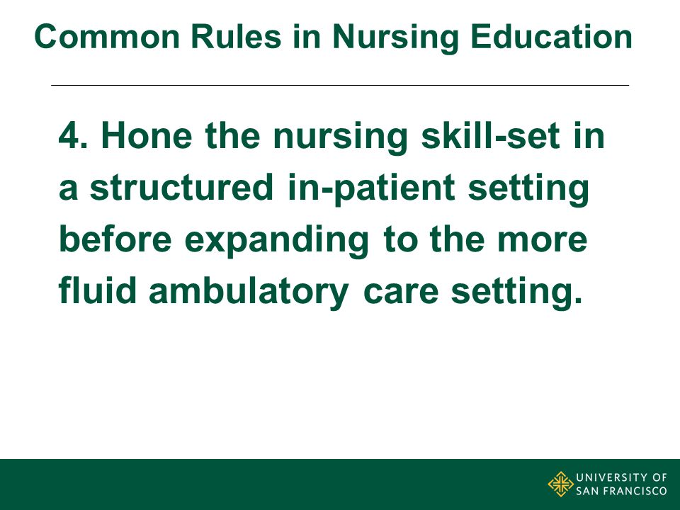 USF Lessons Learned Master's entry program for CNLs to prepare for ambulatory care & home health.