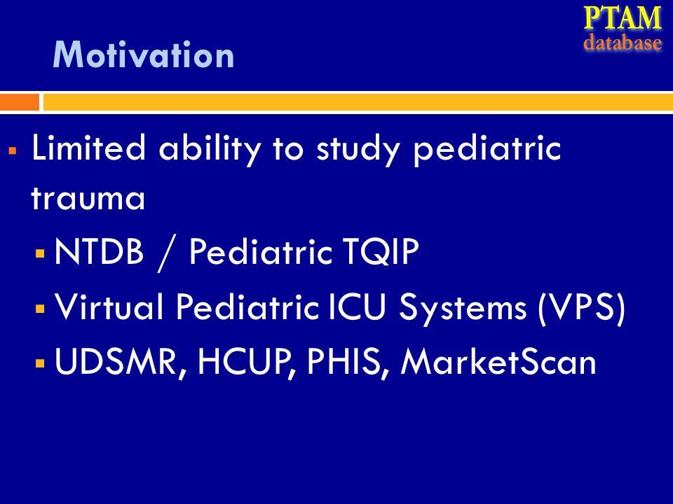 Motivation  Limited ability to study pediatric trauma  NTDB / Pediatric TQIP  Virtual Pediatric ICU Systems (VPS)  UDSMR, HCUP, PHIS, MarketScan