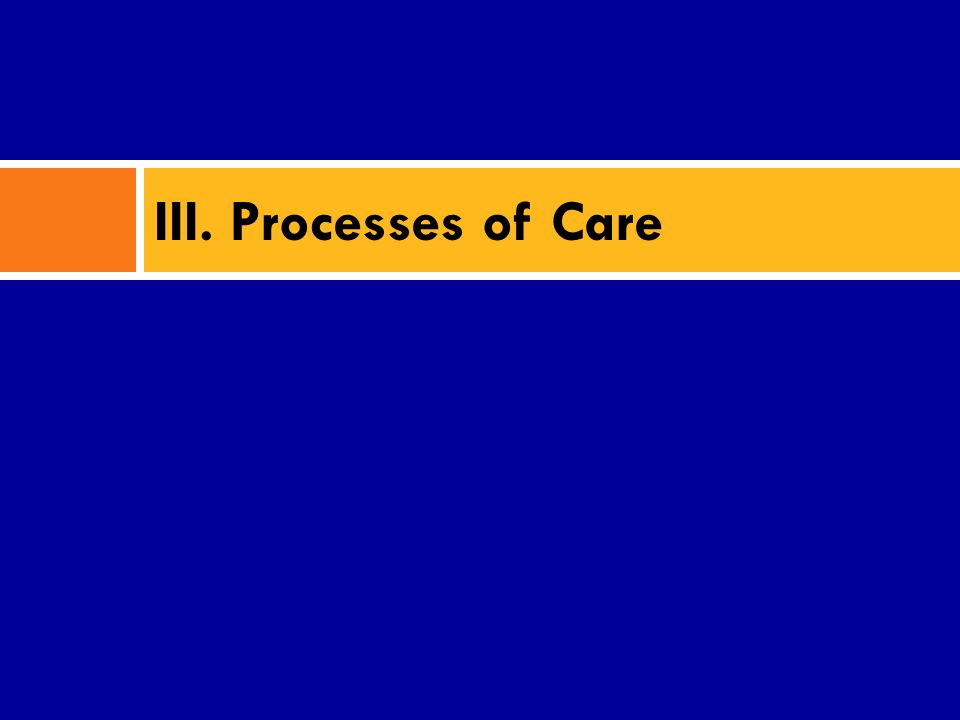 III. Processes of Care