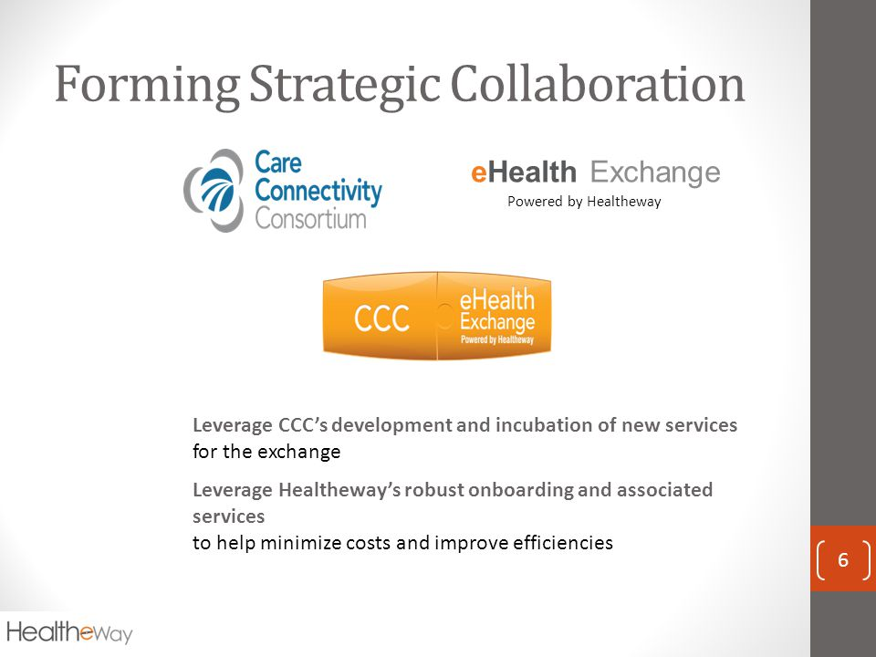 Forming Strategic Collaboration 6 eHealth Exchange Powered by Healtheway Leverage CCC's development and incubation of new services for the exchange Leverage Healtheway's robust onboarding and associated services to help minimize costs and improve efficiencies