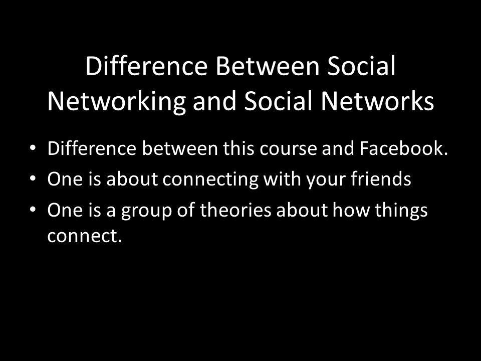 Difference Between Social Networking and Social Networks Difference between this course and Facebook.