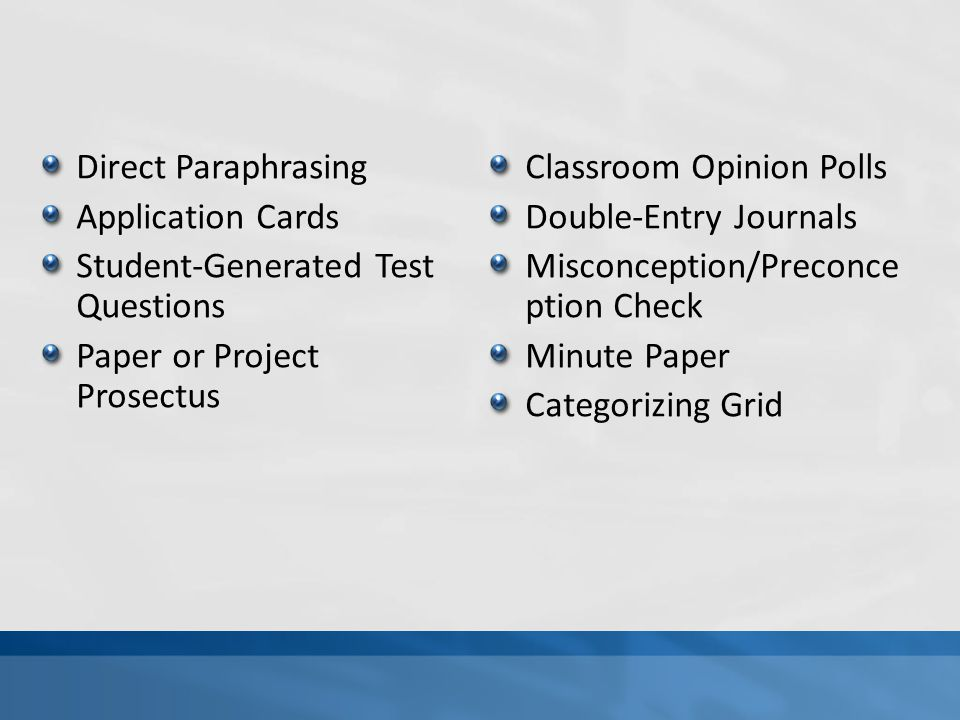 Direct Paraphrasing Application Cards Student-Generated Test Questions Paper or Project Prosectus Classroom Opinion Polls Double-Entry Journals Miscon
