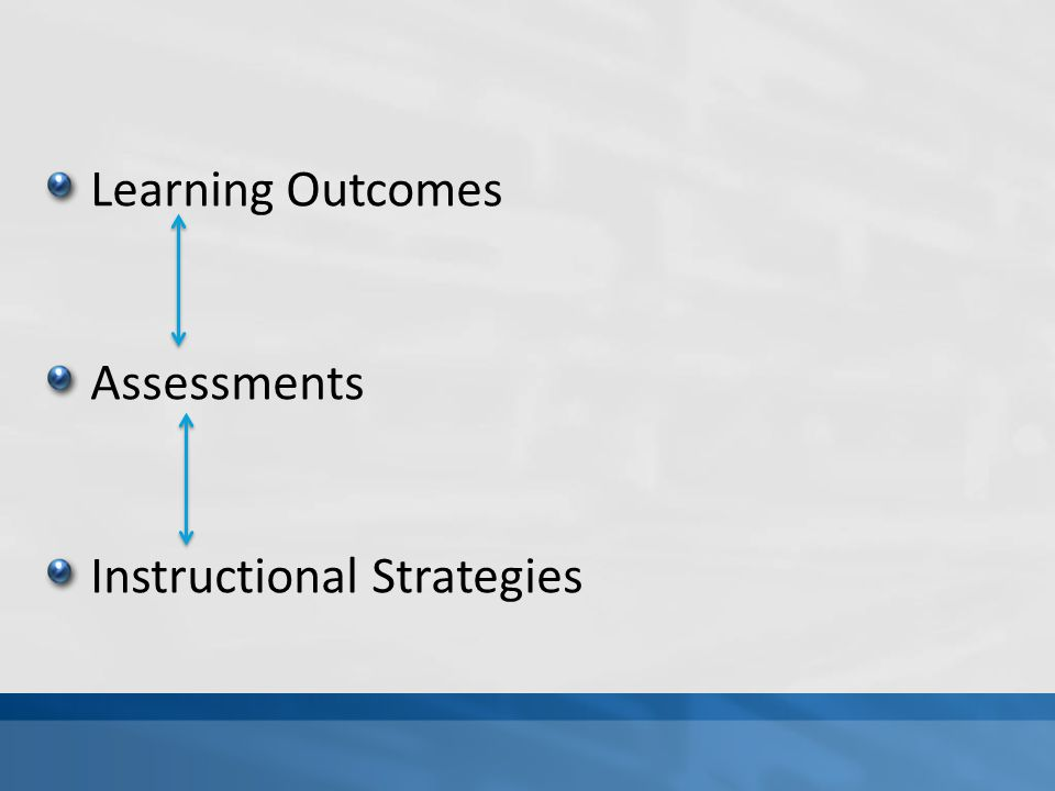 Learning Outcomes Assessments Instructional Strategies