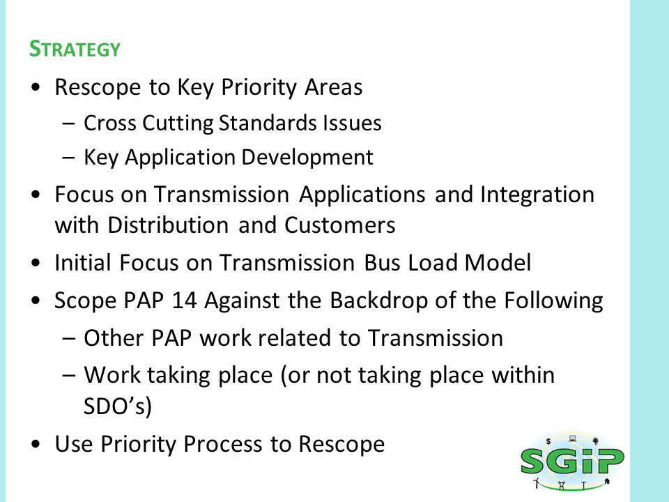 Rescope to Key Priority Areas –Cross Cutting Standards Issues –Key Application Development Focus on Transmission Applications and Integration with Distribution and Customers Initial Focus on Transmission Bus Load Model Scope PAP 14 Against the Backdrop of the Following –Other PAP work related to Transmission –Work taking place (or not taking place within SDO's) Use Priority Process to Rescope S TRATEGY