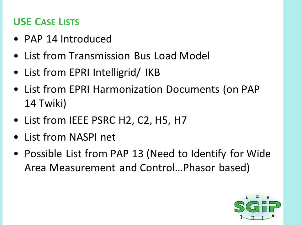 PAP 14 Introduced List from Transmission Bus Load Model List from EPRI Intelligrid/ IKB List from EPRI Harmonization Documents (on PAP 14 Twiki) List