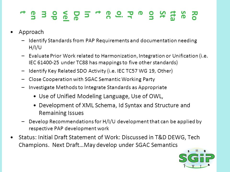 RosettaStoneProjectInDevelopment Approach –Identify Standards from PAP Requirements and documentation needing H/I/U –Evaluate Prior Work related to Ha