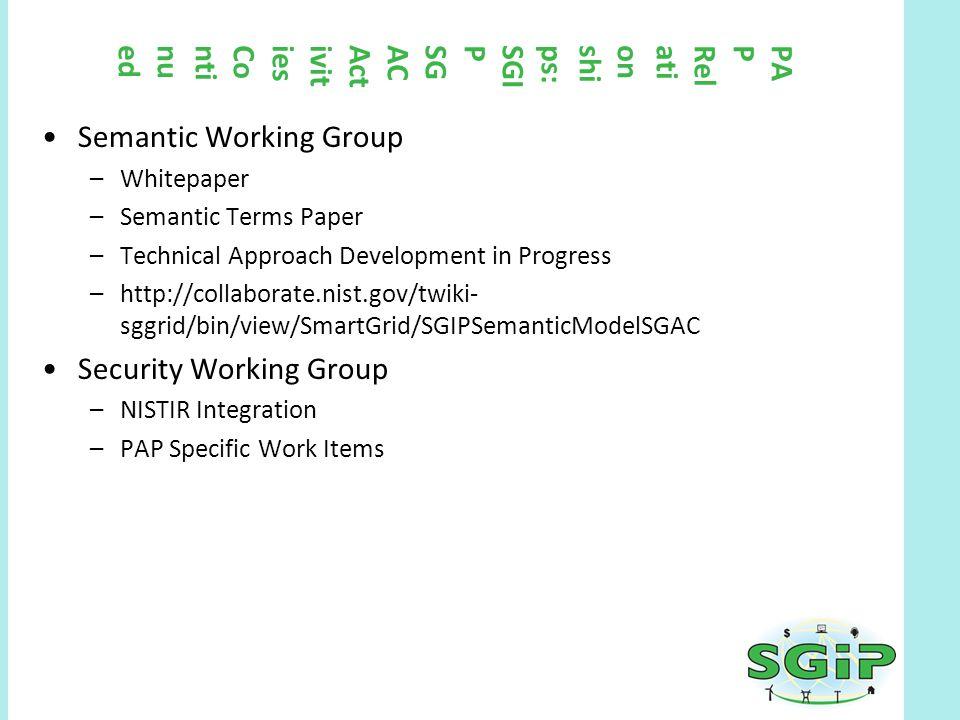 PAPRelationships:SGIPSGACActivitiesContinued Semantic Working Group –Whitepaper –Semantic Terms Paper –Technical Approach Development in Progress –htt