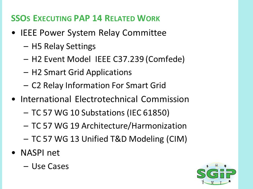 PAPRelationships:SGIPSGACActivitiesContinued Semantic Working Group –Whitepaper –Semantic Terms Paper –Technical Approach Development in Progress –http://collaborate.nist.gov/twiki- sggrid/bin/view/SmartGrid/SGIPSemanticModelSGAC Security Working Group –NISTIR Integration –PAP Specific Work Items