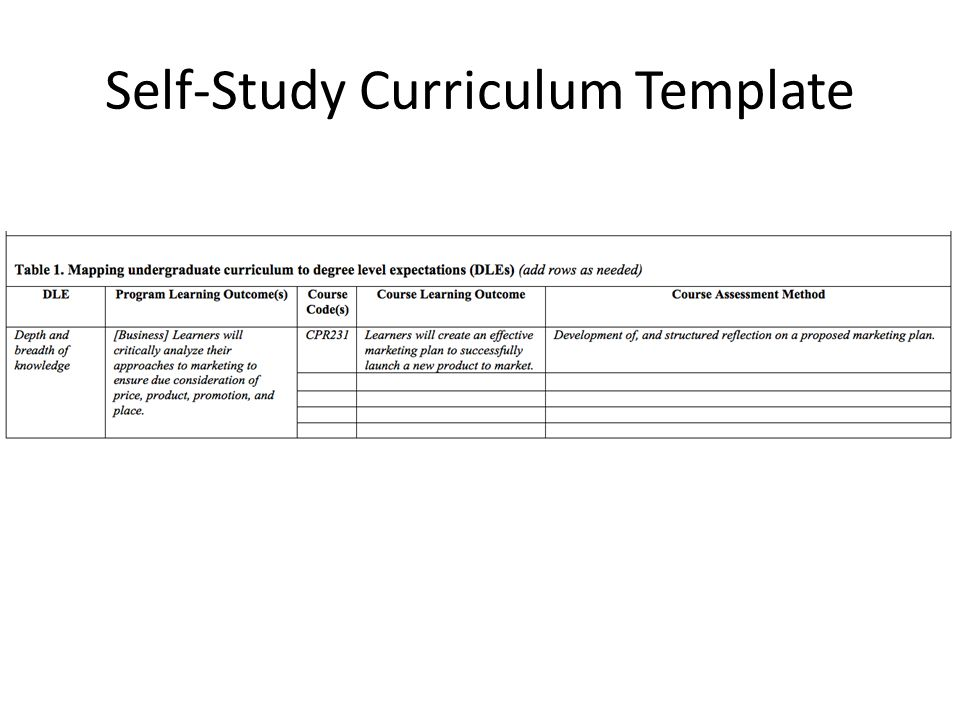 Self-Study Curriculum Template