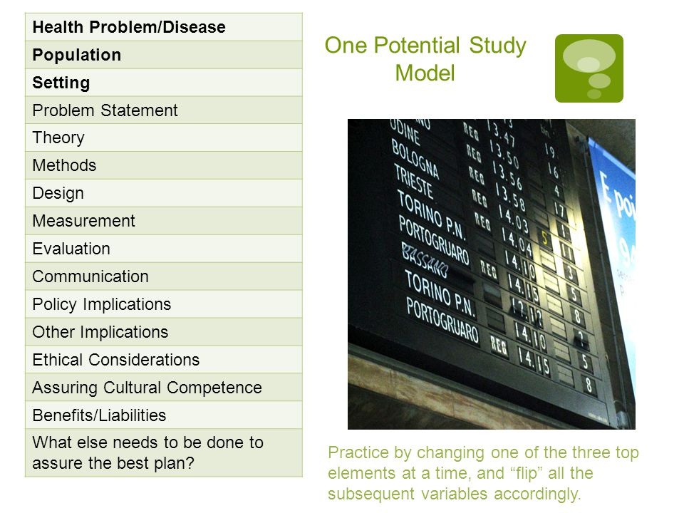 One Potential Study Model Health Problem/Disease Population Setting Problem Statement Theory Methods Design Measurement Evaluation Communication Policy Implications Other Implications Ethical Considerations Assuring Cultural Competence Benefits/Liabilities What else needs to be done to assure the best plan.