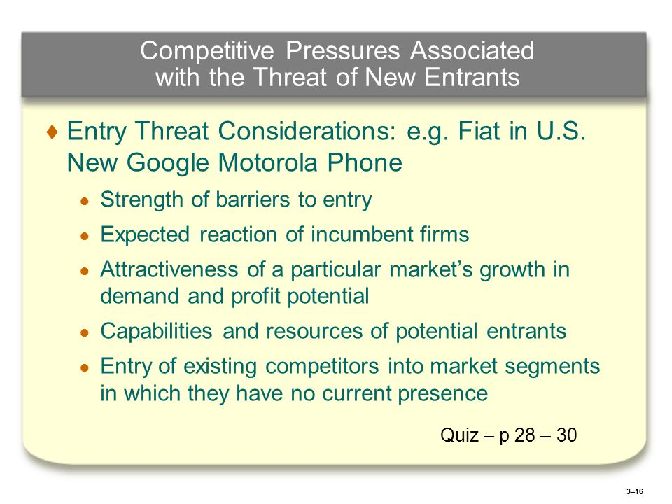 3–16 Competitive Pressures Associated with the Threat of New Entrants ♦ ♦Entry Threat Considerations: e.g.