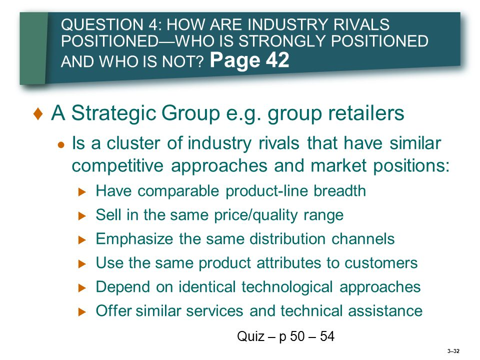 3–32 QUESTION 4: HOW ARE INDUSTRY RIVALS POSITIONED—WHO IS STRONGLY POSITIONED AND WHO IS NOT.