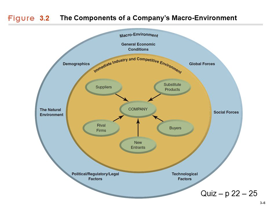 3–63–6 3.2 The Components of a Company's Macro-Environment Quiz – p 22 – 25